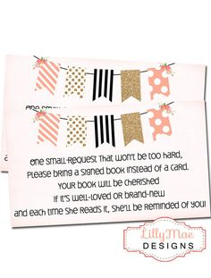 Baby Girl Shower Invitation Banner with by LillyMaeDesigns