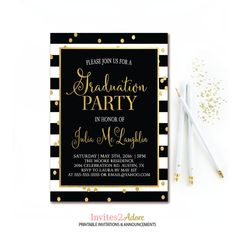 Sample graduation invite wording graduation party ideas black white stripe graduation party invitation black white and gold graduation invite filmwisefo