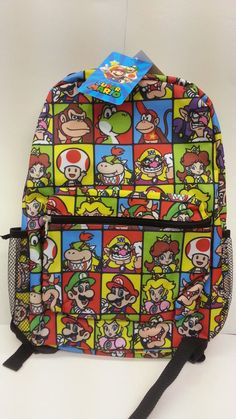 29931e3f38 Nintendo Super Mario Bros 16 Inches All Prints School Backpack 2 Pockets  L  K