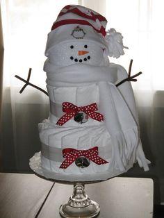 Snowman Diaper Cake. $42.00, via Etsy. #babyshower #diapercake