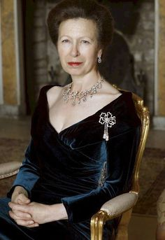 Official portrait on her 60th birthday. HRH Princess Anne, Thė Princess Royal . britain blue velvet gown