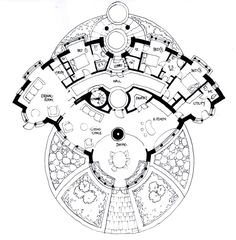 Some Sketch Designs for Sacred Geometry Homes - Creating a Life filled with Beauty and Truth Round House Plans, Dream House Plans, House Floor Plans, Concept Architecture, Architecture Design, Sacred Architecture, Eco Construction, Dome House, Earthship