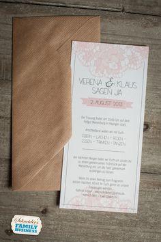 Hochzeitseinladung - rosa Spitze