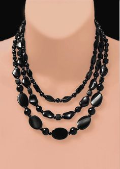 Not So 'BASIC BLACK' Necklace  • 'Art To Wear' • With Free Earrings Too !!! • MAD MEN STLYE !!!