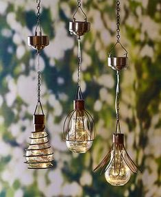 Add a little light to your deck or patio with this Solar Hanging Light. A metal cage wraps around a globe which holds a small strand of 4 tiny white LED lights.