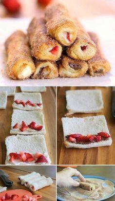 Barritas crujientes de fresas con nutella, rebosadas con canela y azúcar, deliciosas. #PostresParaEventos