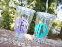$12.50 CLEAR Personalized Cup with Lid 16 oz Simple Design