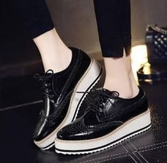 Women Brogues Lady Oxfords Flat Platform Court Wing-tip Sneakers