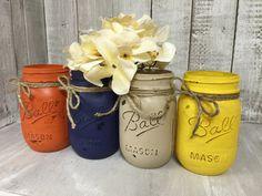 Set of 4 MASON JARS, Painted Mason Jars, Mason Jar Vases, Shabby Chic, Weddings, Showers, Decor, Vintage Jar, Antique Jar by BowtiqueBurlap on Etsy