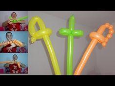 como hacer espadas con globos largos - globoflexia para niños, espada con globos paso a paso - YouTube