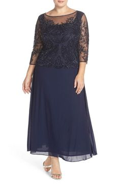 PISARRO NIGHTS Navy Blue Sheer Neck Mock Beaded A-Line Gown Dress