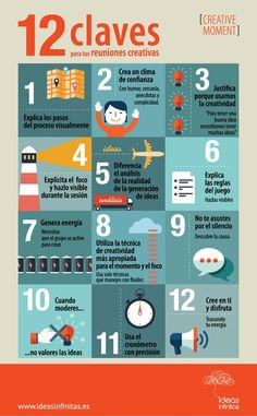 12 claves para tus reuniones creativas #Creatividad #RRHH #infografía Creative Thinking, Design Thinking, Social Media Marketing, Digital Marketing, Work Productivity, Process Improvement, Creativity Quotes, Community Manager, Creativity And Innovation