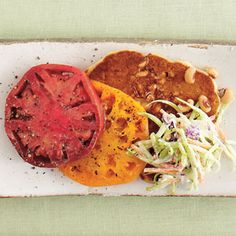 10 Quick-Fix Meatless Meals | Black-eyed Pea Cakes with Heirloom Tomatoes and Slaw | SouthernLiving.com