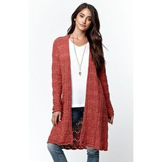 La Hearts Drop Shoulder Duster Cardigan ($45) ❤ liked on Polyvore