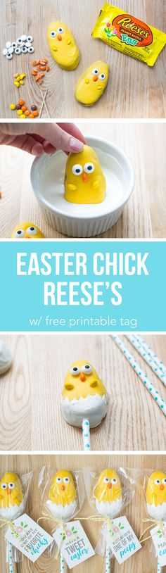 Easter Chick Treats - the most adorable candy chicks made from a Reese's egg! These are so easy to make and the kids will love helping make these cuties.
