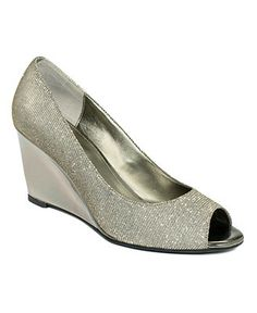 Bandolino Shoes, Tufflove Peep Toe Wedge Pumps - Shoes - Macy's-Pewter