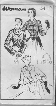 Vintage Sewing pattern. Woman 379 Jacket by IsellVintagePatterns