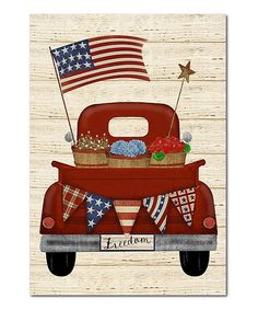 Courtside Market Beige & Red Patriotic Truck Wrapped Canvas | Zulily Painted Rocks, Wrapped Canvas, Trucks, Beige, Gallery, Classic, Inspiration, Stretched Canvas, Rock Painting