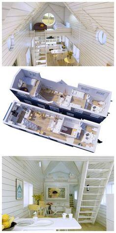 split level bedroom, gooseneck, 3 bedrooms, family tiny house