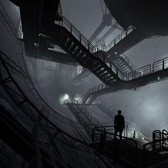 Shadow a… berduu Curved landscape architecture. Metro 2033, Sci Fi Environment, Arte Cyberpunk, Color Scale, Shadow Art, Post Apocalypse, Environmental Art, Sci Fi Fantasy, Story Inspiration