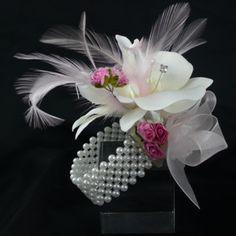 Wrist Corsage idea for moms (without the feathers)