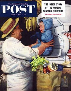 The Saturday Evening Post, April 5, 1952 (cover art by Stevan Dohanos) - Babies and Bananas