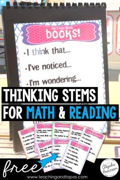 Eight free printable thinking stem anchor charts or posters that are perfect for reading or math.