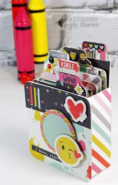 Project Ideas for Simple Stories - Emoji Love Collection - Chipboard Stickers Photo Album Scrapbooking, Mini Scrapbook Albums, Mini Albums, Friend Scrapbook, Diy Mini Album, Mini Album Tutorial, Diy Crafts For Girls, Emoji Love, Birthday Scrapbook