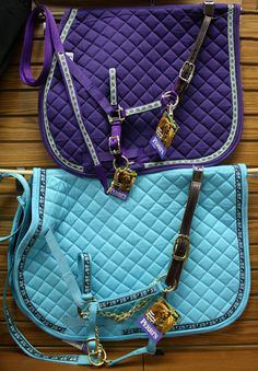 Many thanks to Perri's for this purple pony sized matching saddle pad and halter/lead combo, and this teal horse sized matching pad and halter/lead combo! Horse Riding Clothes, Riding Gear, Riding Boots, Horse Clothing, English Horse Tack, English Saddle, Horse Halters, Horse Saddles, Horse Gear