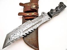 damascus hunting tracker knife by customknives65 on Etsy