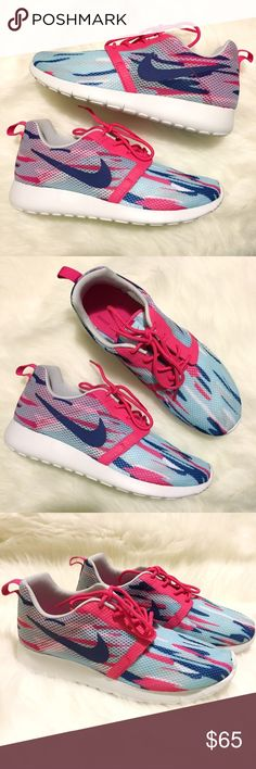 Nike Roshe One Flight Weight Sneakers Brand new in box, Youth size 5.5, which would best fit a women's size 6.5. These Nike Roshe One Flight Weight Sneakers are so cute and fun! Love the white, pink and light & dark blue colorway! The perfect way to add that pop of color to your outfit! So lightweight, you can wear these all day without feeling tired. Matching pink shoelaces. Nike Shoes Sneakers