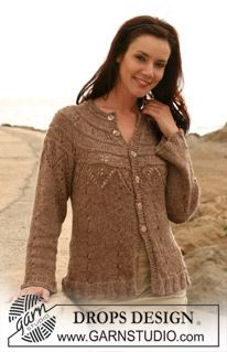 """DROPS jacket with lace pattern and round yoke in Cotton Viscose and Alpaca. Size S – XXXL Free pattern by DROPS Design.DROPS - DROPS jakke med hulmønster og rundt bærestykke i """"Cotton Viscose""""…Here you'll find more than free knitting patterns an Knitting Designs, Knitting Patterns Free, Knit Patterns, Free Knitting, Free Pattern, Knitting Machine, Drops Design, Gilet Crochet, Knit Crochet"""