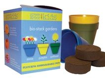 Kids Bio-Stack Gardens  Why we love it:  Endless fun for kids!        Contents:    3 Biodegradable Pots    3 Seed Packets    · Zinnia Candy Cane    · Sunflower Sunspot    · Pumpkin Small Sugar    3 Jiffy® Quick Soil Mix® - 60mm pellets    WWW.GIFT-A-TREE.CA