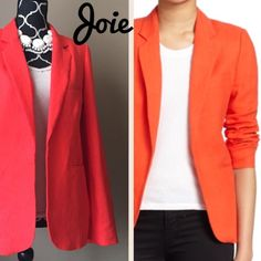 HOST PICKJoie Linen Blazer In perfect condition! 100% linen. First picture on right is stock photo from website to show style. Same jacket in same color but as you can see light and your screen can affect the way color appears. I think real color is closer to my own photos. Joie Jackets & Coats Blazers