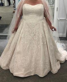Oleg Cassini Plus Size Lace Tulle Wedding Dress Tulle Wedding Gown, Cruise Wedding, Wedding Dresses Plus Size, Bride Look, Lace Bodice, Davids Bridal, Beaded Lace, Ball Gowns, Honeymoon Cruises