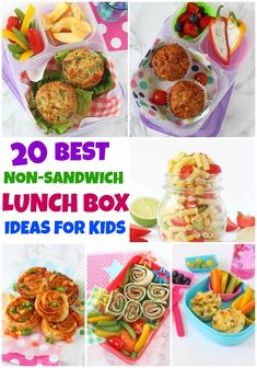 20 Delicious and Healthy Lunch Box Ideas for Kids That Aren't Sandwiches! 20 Delicious and Healthy Lunch Box Ideas for Kids That Aren't Sandwiches! Kids Packed Lunch, Healthy Lunches For Kids, Toddler Lunches, Kids Meals, Healthy Snacks, Healthy Recipes, Toddler Food, Detox Recipes, Non Sandwich Lunches
