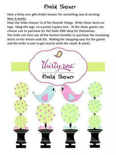 I LOVE this idea! Are you planning a bridal shower for a gal who LOVES Thirty-One? Let me help! :)