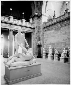 The Metropolitan Museum of Art, Wing D, Room 1 (Great Hall); View facing northeast with American sculpture installed in the Great Hall. Photographed ca. 1907. Image © The Metropolitan Museum of Art