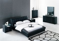 black leather bedroom furniture for contemporary bedroom sets with painted wall and white ceramic bedroom floor