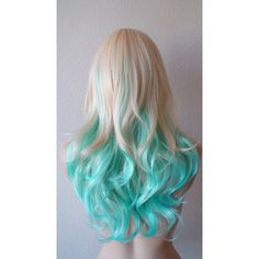 Summer Special Blonde Mint/Teal color Ombre wig. Medium length curly... (155 CAD) ❤ liked on Polyvore featuring beauty products, haircare, hair, hairstyles, beauty, hair styles, makeup and curly hair care