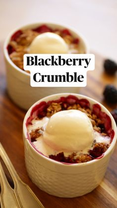Easy Summer Desserts, Summer Dessert Recipes, Fruit Recipes, Delicious Desserts, Recipies, Snack Recipes, Cooking Recipes, Yummy Food, Blackberry Crumble