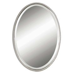 Sherise Brushed Nickel Oval Mirror | Overstock.com Shopping - Great Deals on Mirrors
