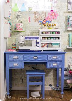 craft room inspiration - blue desk, cute lamp, desktop shelves with windows, small display shelf on wall.