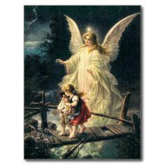 Vintage Wächter Engel und Kinder auf Brücke Postkarten                                                                                                                                                                                 Mehr