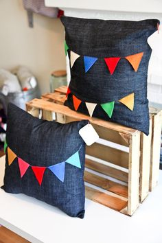 denim and bunting pillows