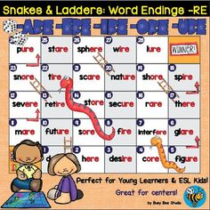 Snakes and Ladders Game : Word Endings -are, -ere, -ire, -