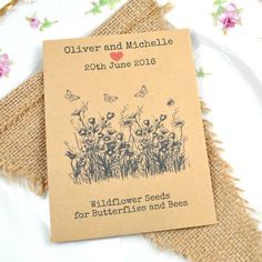 Wildflower seeds for butterflies and bees wedding favourPlease advise personalisation during the checkout process.Lovely recycled packet of seeds wedding favour personalised with your wedding details. This seed packet contains British-grown British wildflower seeds that butterflies and bees love! Seed content - Field Scabious, Corn Marigold and Wild Marjoram. Seeds are in a sealed plastic wallet and the sowing instructions are on the back of the packet. These wildflowers are perennials and…