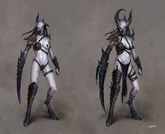 Dark Elf Sorceress for the game Warhammer Online: Age of Reckoning. Fantasy Battle, Fantasy Rpg, Dark Fantasy Art, Fantasy Warrior, Warhammer Online, Warhammer 40k Art, Warhammer Armies, Female Monster, Fantasy Monster