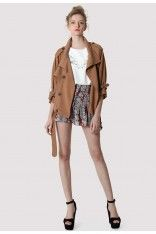 #ChicWish  Double Breasted Chiffon Trench Coat in Tan