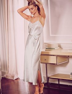 Pure Silk Floral Lace Long Nightdress | Rosie for Autograph at M&S